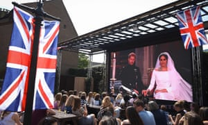 The wedding of Prince Harry and Meghan Markle shown on a big screen at an Edinburgh pub.