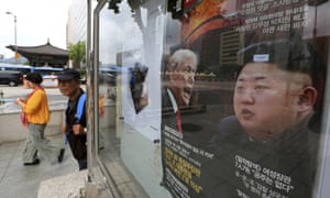 A South Korean news magazine shows Donald Trump and Kim Jong-un. The US has diluted a sanctions package planned against Pyongyang.