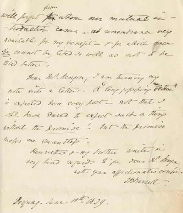 The letter to Kenyon, dated 10 June 1839