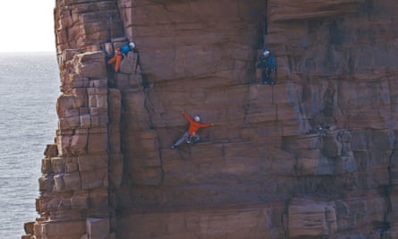 Getting to grips with the Old Man of Hoy ... Molly Thompson, Jesse Dufton and Alastair Lee in Climbing Blind.