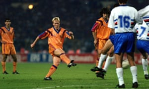 Ronald Koeman hammers home from a free-kick in 1992 – and Barcelona win their first European Cup.