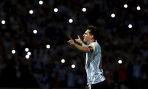 Lionel Messi celebrates after scoring in Argentina's 2018 World Cup qualifier against Bolivia.