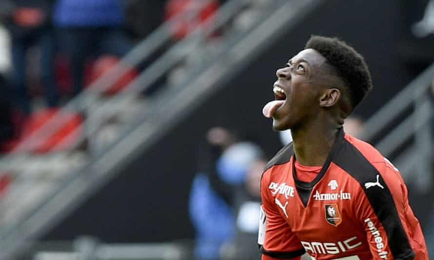 Dembélé celebrates scoring one of his three goals against Nantes in the Breton derby on 6 March.
