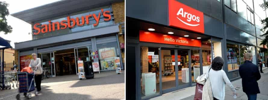 Sainsbury's and Argos shopfronts