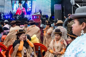 Thousands of cholitas gather during a social reception held by the Paco family in La Paz