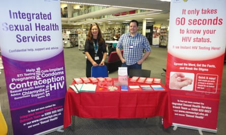 Sexual health stand at Central Library in Coventry