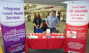 A sexual health stand offering 60-second HIV tests at Central Library in Coventry.