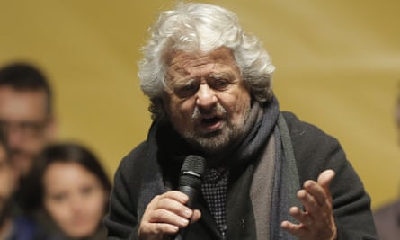 Beppe Grillo speaks at a rally.