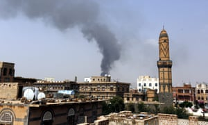 Smoke rises from a food factory in the Yemeni capital, Sanaa