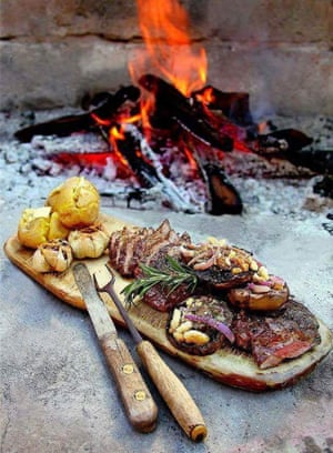 Barbecue meal at  Camp Highlander