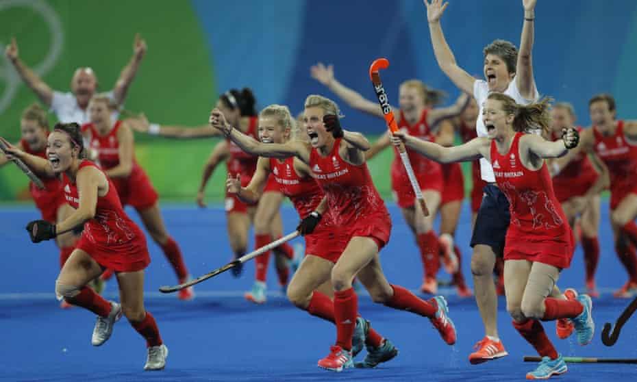Team GB celebrate after winning gold in Rio following a gripping penalty shootout against the Netherlands – the final was watched by 10 million on BBC One.