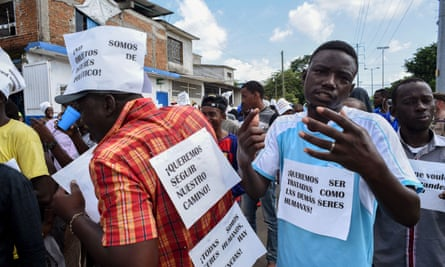 African migrants protest during a march demanding humanitarian visas that would enable them to cross Mexico on their way to the US, in Tapachula, Chiapas state, Mexico, on the border with Guatemala, on 30 August 2019.