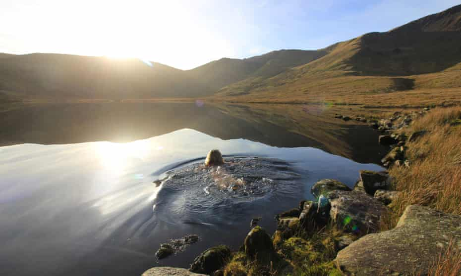 'Accept the cold' – Sarah Stirling swimming in Snowdonia.
