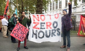 Protesters campaign against zero-hours contracts in London.