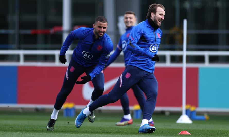 Kyle Walker and Harry Kane prepare for England's World Cup qualifiers at St George's Park.