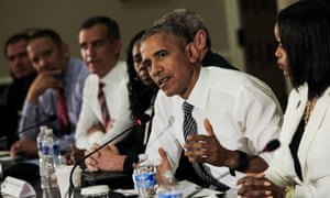 Barack Obama hosts a conversation on community policing and criminal justice at the White House on 13 July.