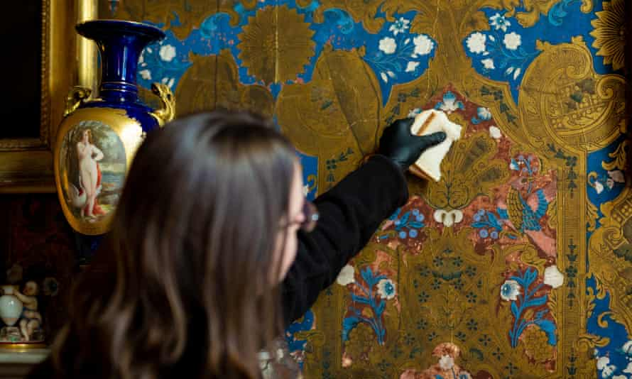 Bread is used to wipe wallpaper at Brodsworth Hall