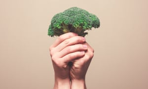 Hands holding broccoliTwo hands are holding a floret of broccoli in a symbolic manner