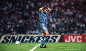 Gareth Southgate shows the strain after missing in the penalty shootout in the Euro 96 semi-finals