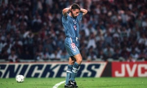 Gareth Southgate reacts after missing his penalty against Germany in the Euro 96 semi-final at Wembley.