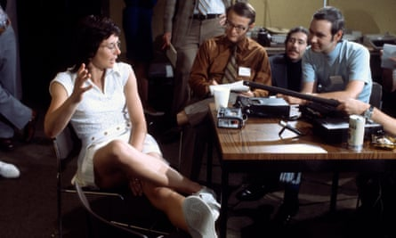 Billie Jean King talks to reporters in 1973, the same year she founded the WTA after the success of the Virginia Slims Tour.