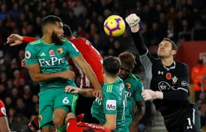 Southampton's Alex McCarthy punches the ball clear after Watford's Adrian Mariappa header rebounds off the crossbar during the 1-1 draw at St Mary's Stadium. Southampton's opening goal was their first in the Premier League that wasn't from the penalty spot in 615 minutes since Pierre-Emile Højbjerg netted against Brighton in September.