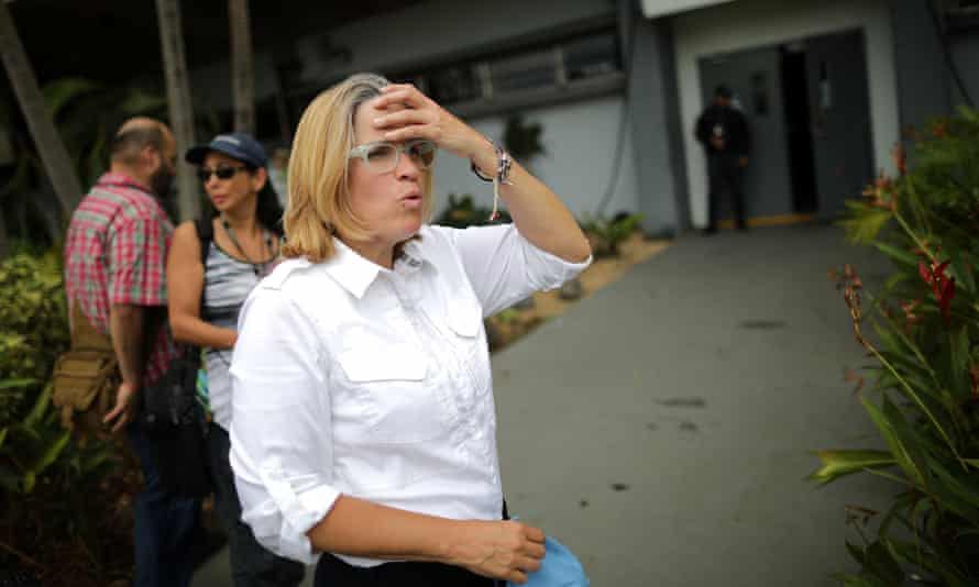 Carmen Yulín Cruz, the mayor of San Juan, outside of the government center. She said of Trump's attack Sunday: 'Bring it on.'
