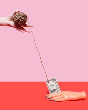 A hand pulling a dollar bill on the end of a ball of string, from photographer Olivia Locher's I Fought the Law series