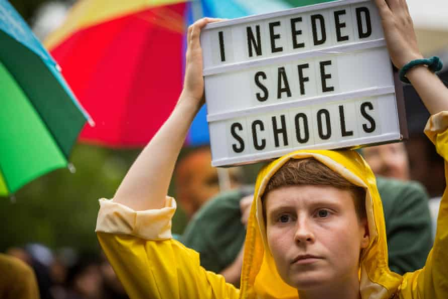 A protester at the Hands Off Safe Schools rally in Melbourne on Thursday