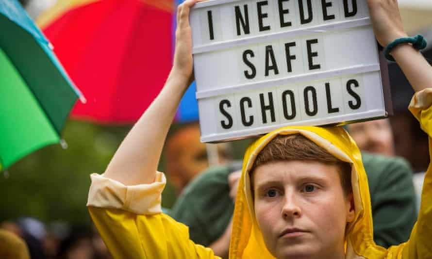 Protesters attend the Hands Off Safe Schools rally in Melbourne in March 2016.