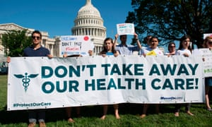 Protesters against the Senate Republicans' healthcare bill hold a rally outside the Capitol in Washington.