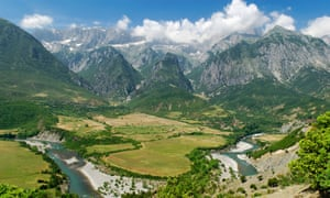 The Vjosa, one of Europe's last wild, free-flowing rivers with Nemerck mountains behind, Albania