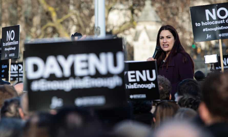 Labour MP Luciana Berger addresses a demonstration against antisemitism in the party in Parliament Square.