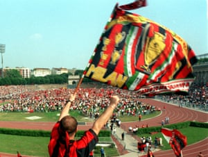 Fans celebrate Milan's Serie A title in May 1999. Poor Lazio.
