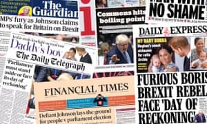 Front pages of the UK Papers on Thursday 26 September 2019 as Boris Johnson invokes Jo Cox's name and attempts to defy the supreme court regarding the unlawful prorogation of parliament and Brexit.