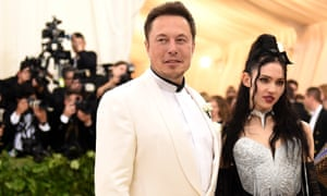 Grimes and Elon Musk's first outing as a couple, at the Met Gala in 2018.