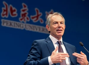 Tony Blair gives a speech at Peking University in Beijing in 2012.