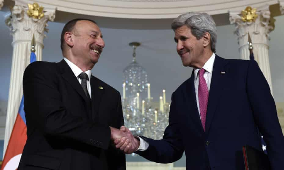Ilham Aliyev is greeted by US secretary of state John Kerry before their meeting at the state department in Washington on Wednesday.