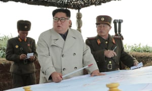 Kim Jong-un inspects defences on Changrin Islet in an image released on 25 November.