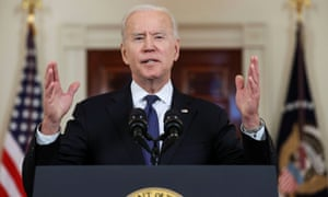 Joe Biden delivers remarks before the Israel-Gaza ceasefire was to go into effect.