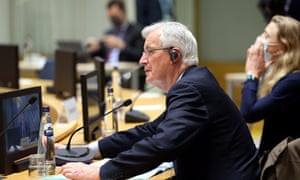 Michel Barnier at the Coreper (committee of the permanent representatives) meeting of EU ambassadors in Brussels this morning, where he briefed them on the trade talks.