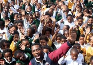 Siya Kolisi on a school visit in Port Elizabeth
