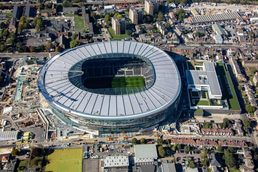An aerial view of the redevelopment around White Hart Lane, the state-of-the-art stadium is located between Tottenham High Road and Worcester Avenue in the Borough of Haringey.