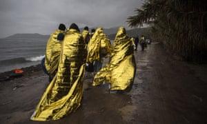 Refugees arrive on Greek island of Lesbos
