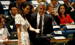 George Clooney and wife Amal attend the Refugee Summit at the United Nations in New York
