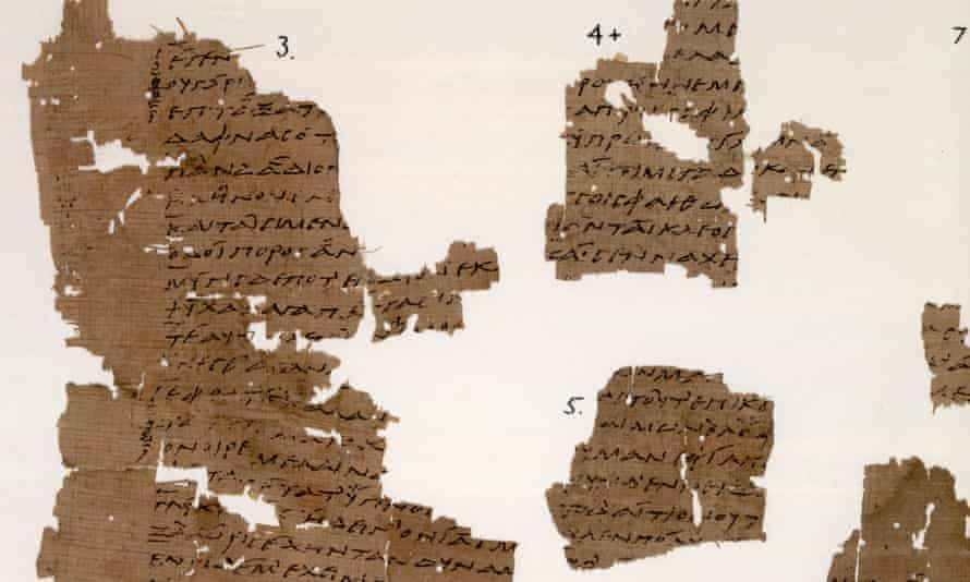 Some of the remaining fragments of Sappho's poems, held at the Sackler Library, Oxford.