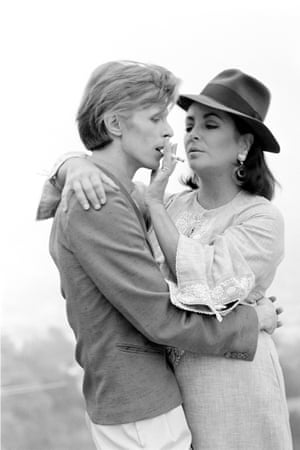 "Bowie and Taylor, Beverley Hills, 1975'I was in Los Angeles and the phone rang,' said O'Neill. 'It was Elizabeth Taylor: ""I'd like to meet David Bowie; can you arrange that?"" I made a few calls and a date and time were arranged. Elizabeth certainly had a reputation for keeping people waiting, but on this day she was well matched. After an hour went by, I could tell her patience was waning. Then another hour, then another. After another few hours he finally arrived'"