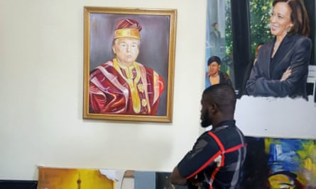 Peter Odoakang's oil painting of Donald Trump