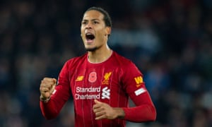 Virgil van Dijk acknowledges the crowd after Liverpool's 3-1 win over Manchester City.