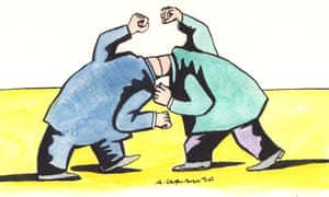 Andrzej Krauze illustration of two headless men locked together and grappling